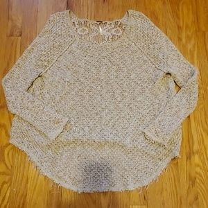 Free People raw-edge knit crochet-back sweater